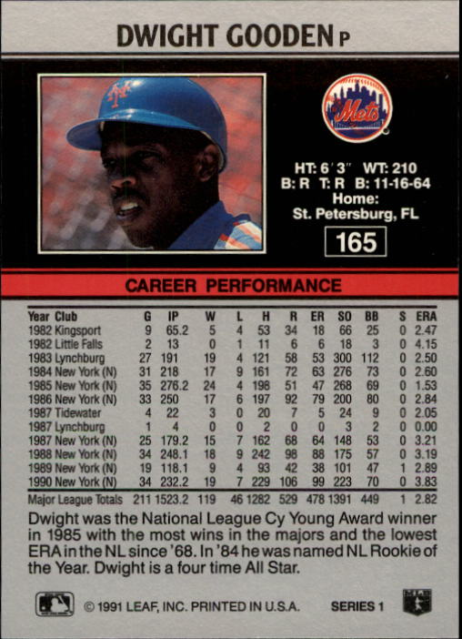 1991 Leaf #165 Dwight Gooden back image