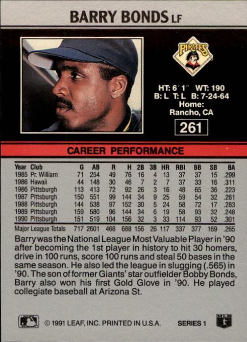 1991 Leaf #261 Barry Bonds back image