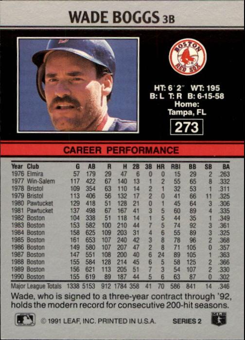 1991 Leaf #273 Wade Boggs back image