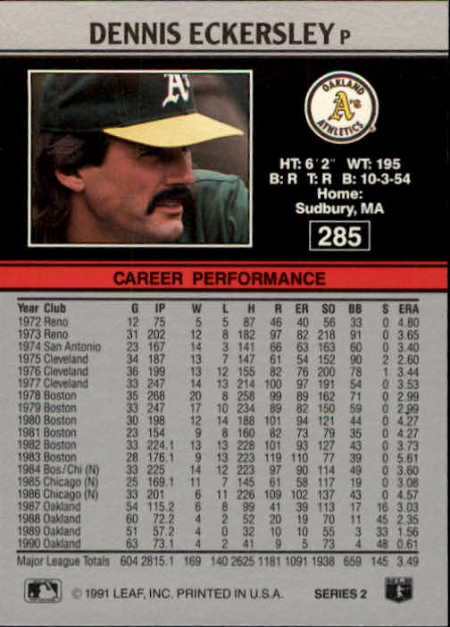 1991 Leaf #285 Dennis Eckersley back image