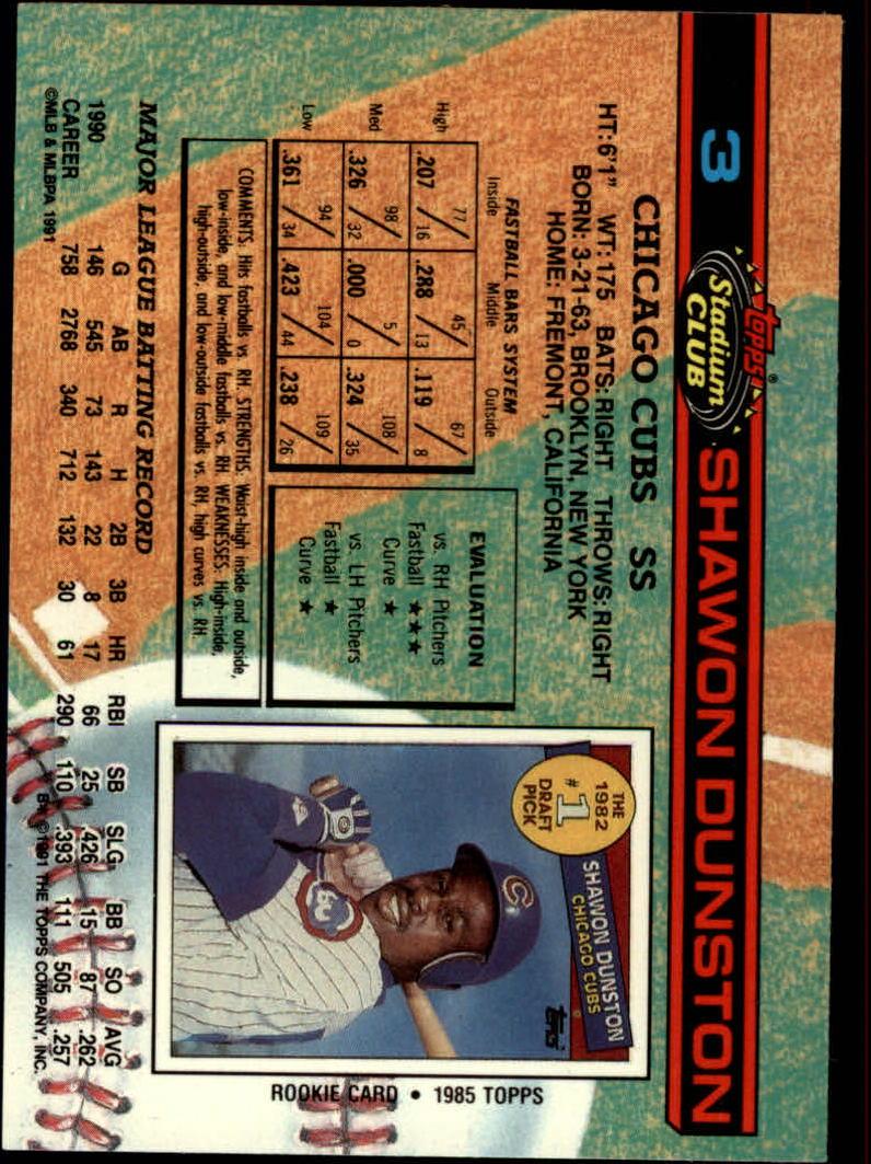 1991 Stadium Club #3 Shawon Dunston back image