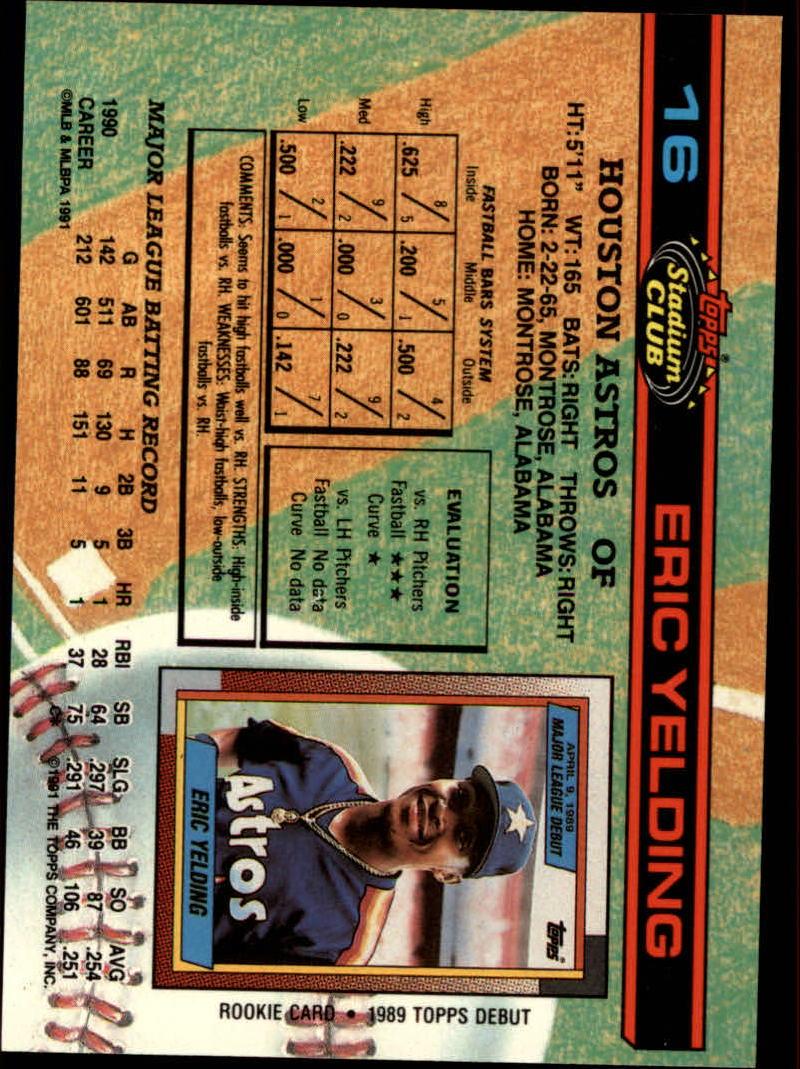1991 Stadium Club #16 Eric Yelding back image