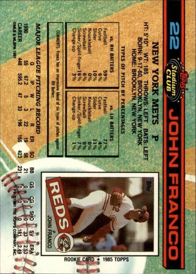 1991 Stadium Club #22 John Franco back image