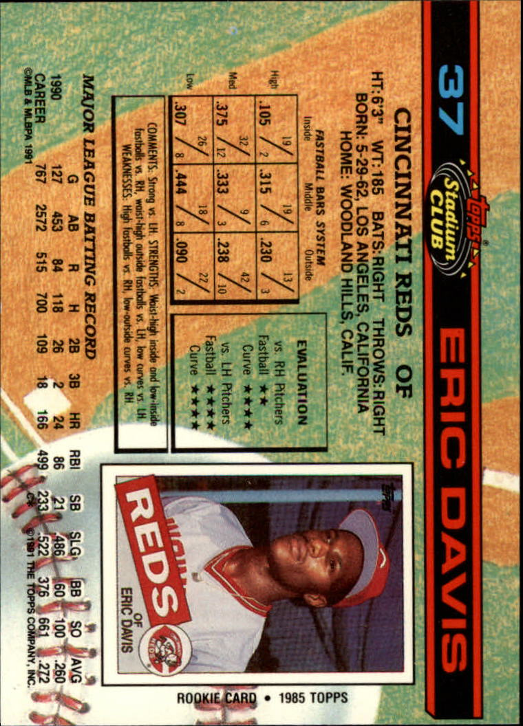 1991 Stadium Club #37 Eric Davis back image