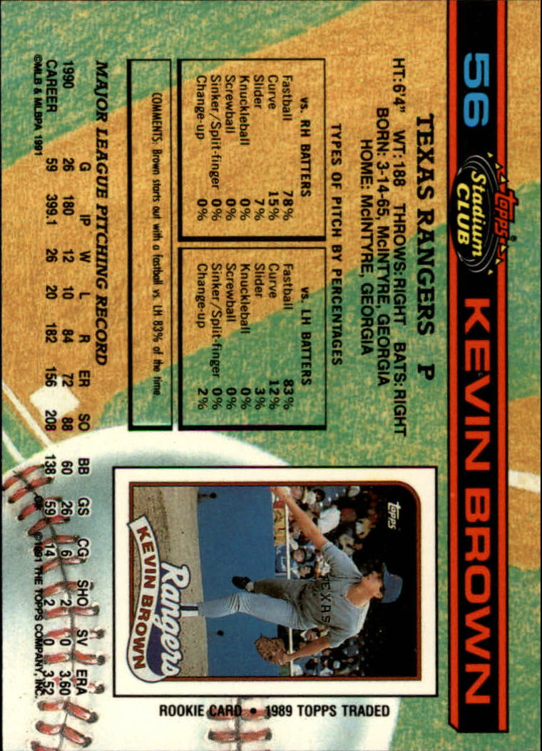 1991 Stadium Club #56 Kevin Brown back image