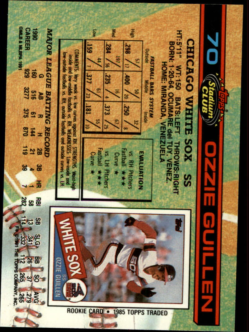 1991 Stadium Club #70 Ozzie Guillen back image