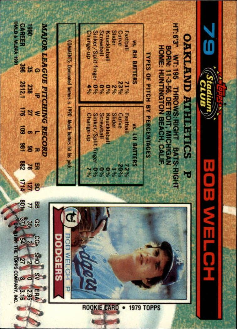 1991 Stadium Club #79 Bob Welch back image
