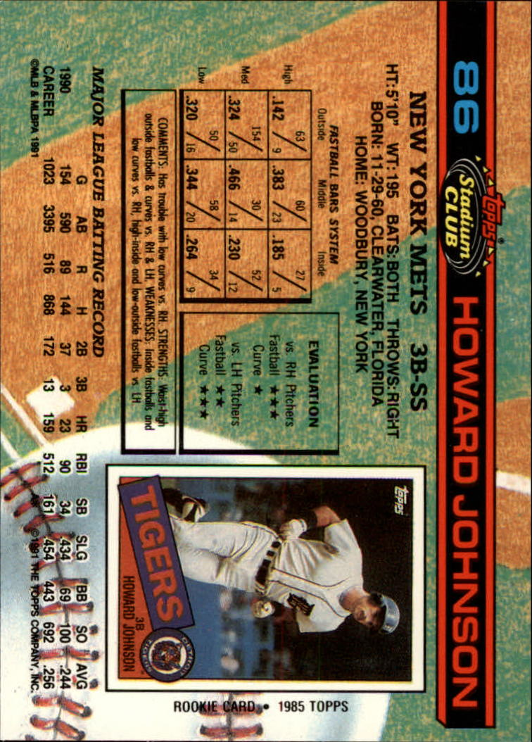 1991 Stadium Club #86 Howard Johnson back image