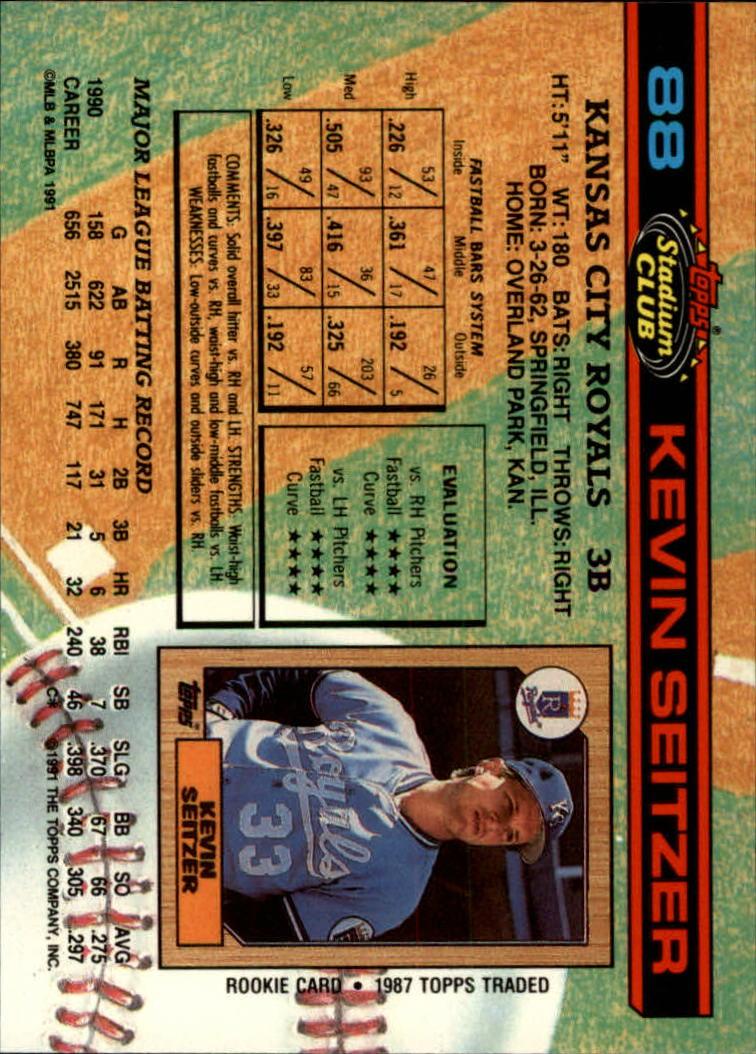1991 Stadium Club #88 Kevin Seitzer back image