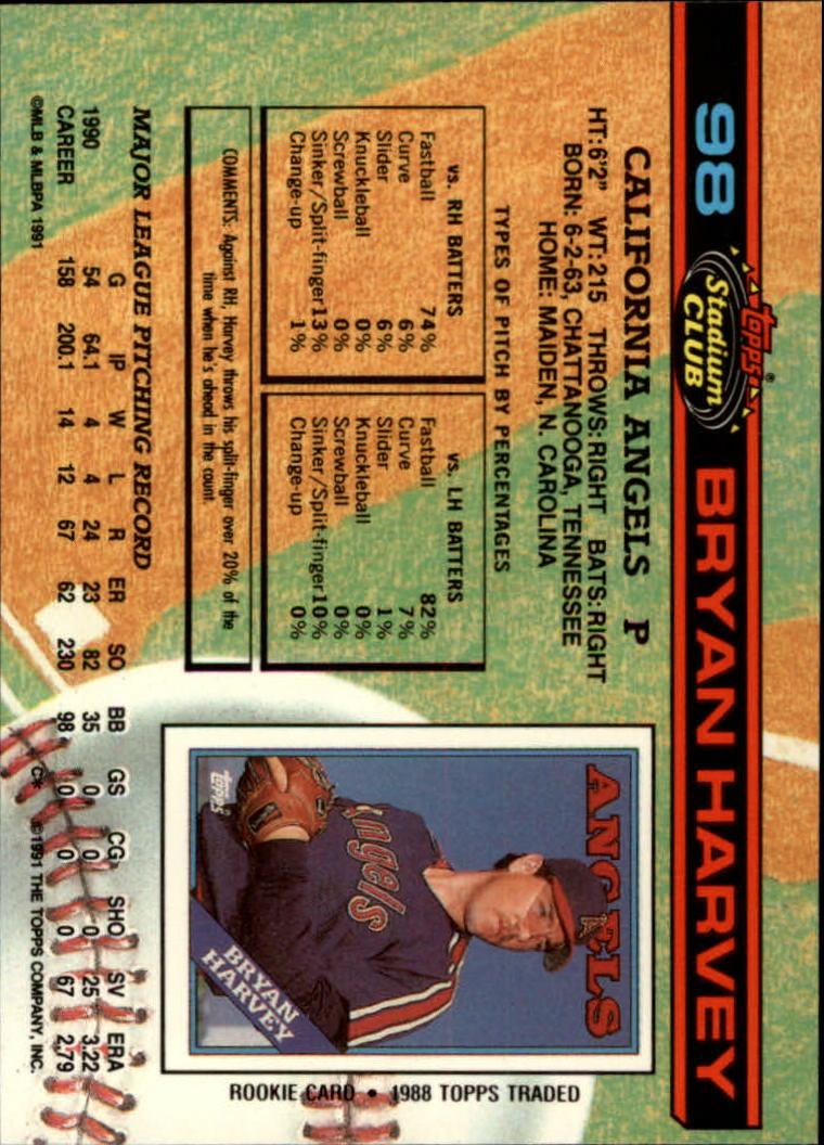 1991 Stadium Club #98 Bryan Harvey back image