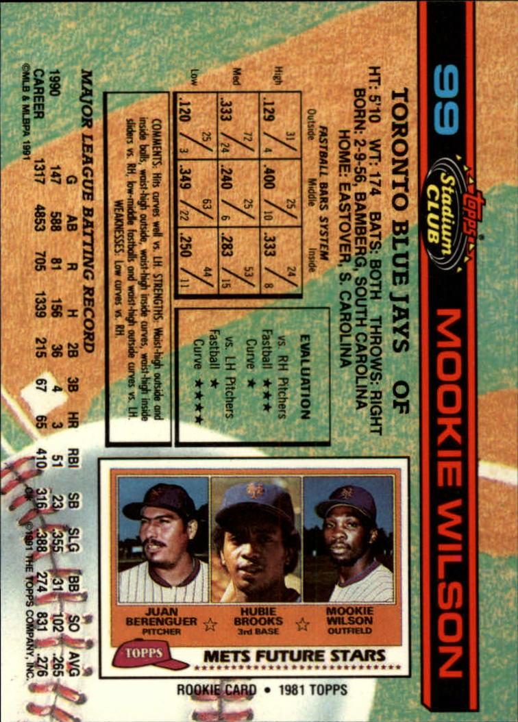 1991 Stadium Club #99 Mookie Wilson back image