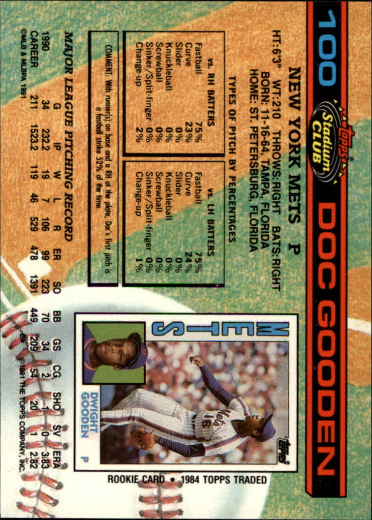 1991 Stadium Club #100 Dwight Gooden back image