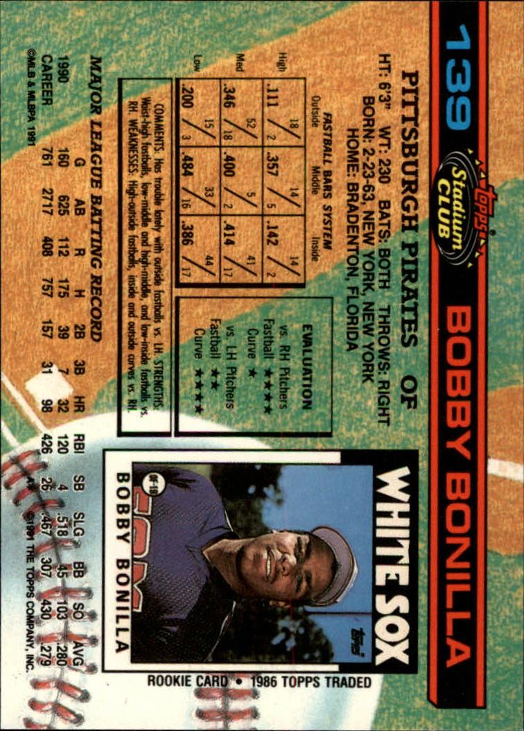 1991 Stadium Club #139 Bobby Bonilla back image
