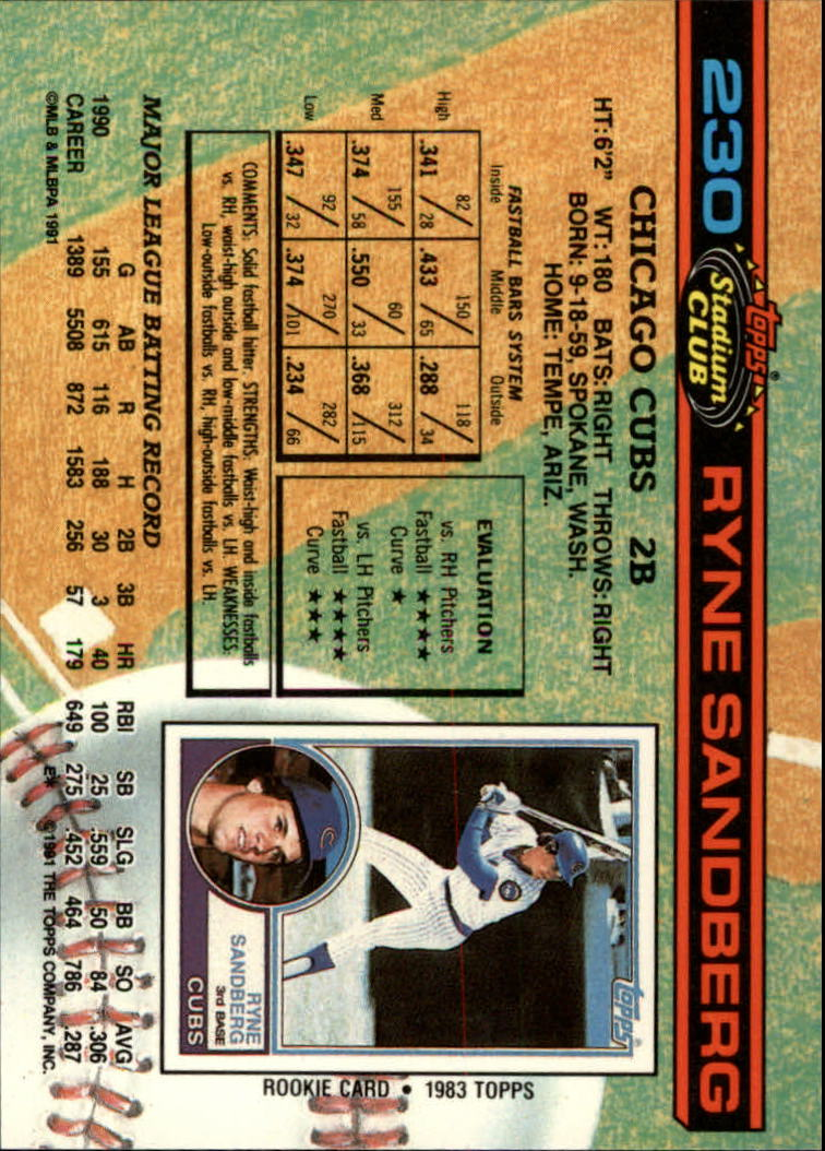 1991 Stadium Club #230 Ryne Sandberg back image