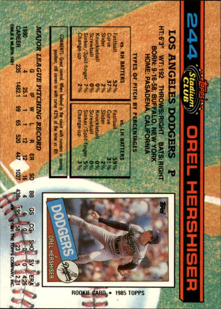 1991 Stadium Club #244 Orel Hershiser back image