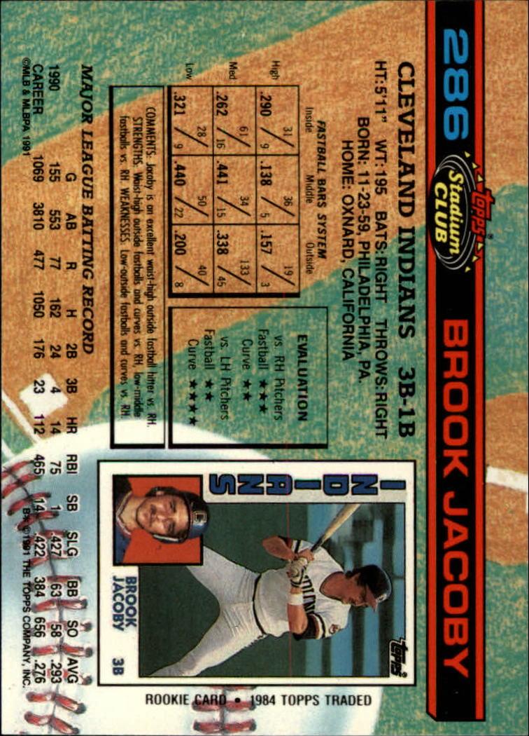 1991 Stadium Club #286 Brook Jacoby back image
