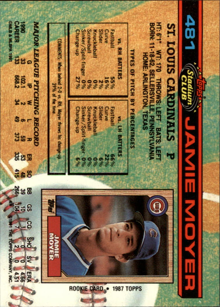 Louis Cardinals St Baseball Cards 1991 Stadium Club #481 Jamie Moyer