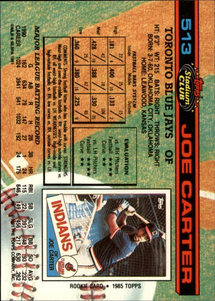 1991 Stadium Club #513 Joe Carter back image