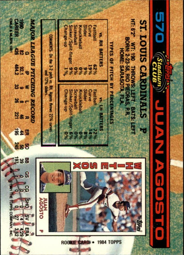 1991 Stadium Club #570 Juan Agosto back image