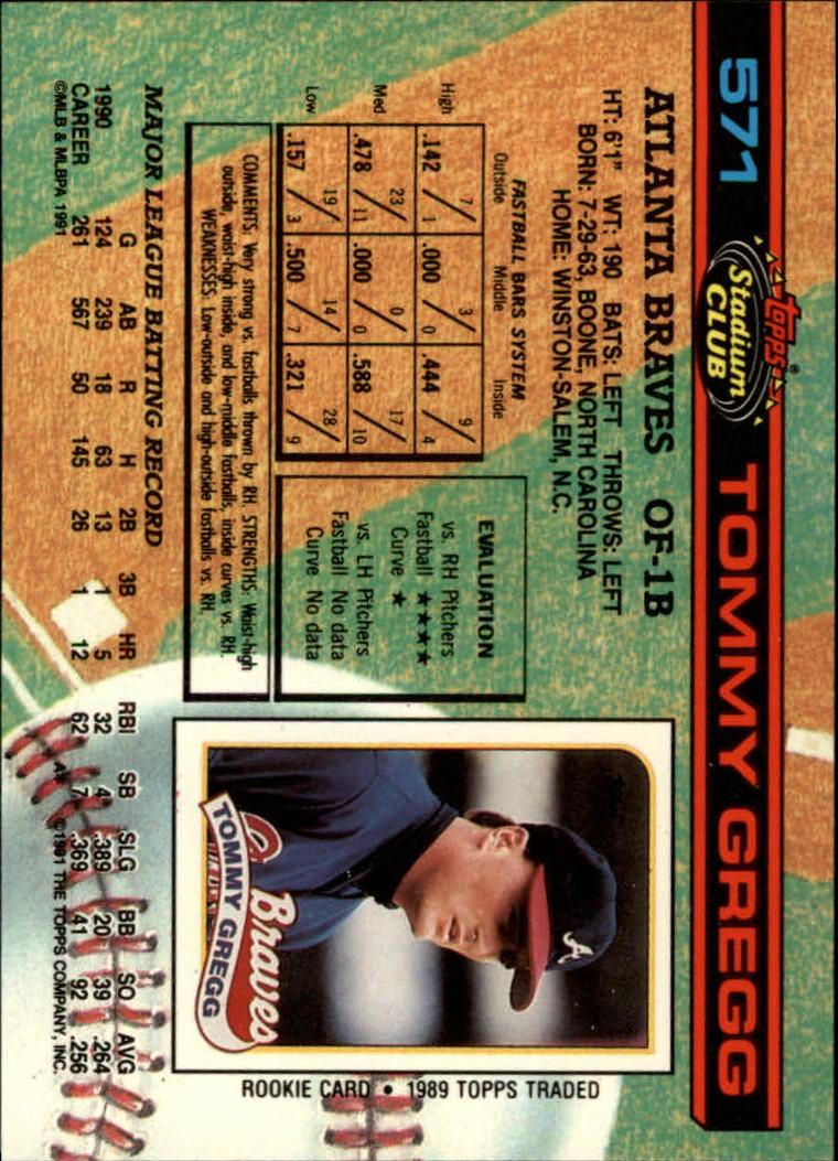 1991 Stadium Club #571 Tommy Gregg back image
