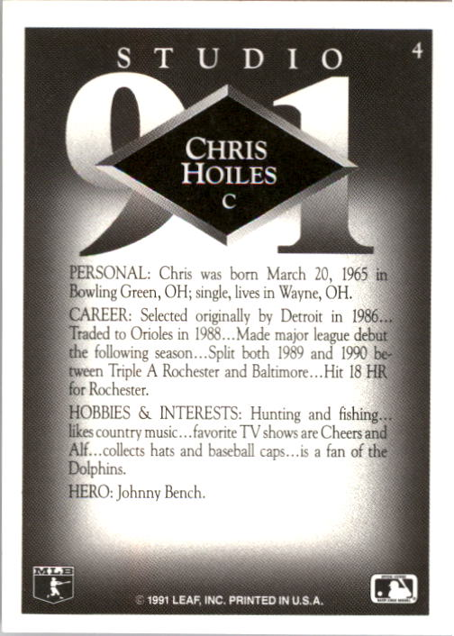1991 Studio #4 Chris Hoiles back image
