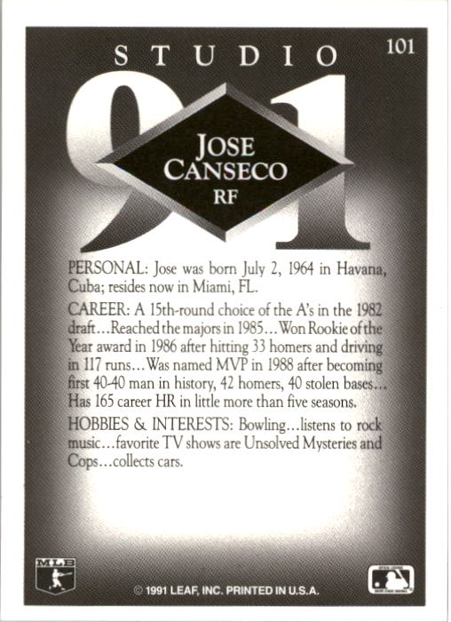 1991 Studio #101 Jose Canseco back image