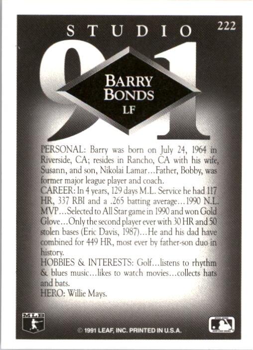 1991 Studio #222 Barry Bonds back image