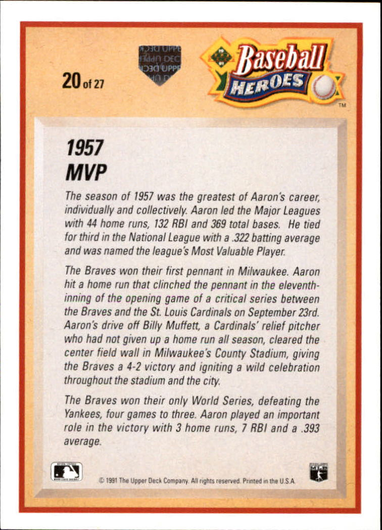 1991 Upper Deck Aaron Heroes #20 Hank Aaron back image