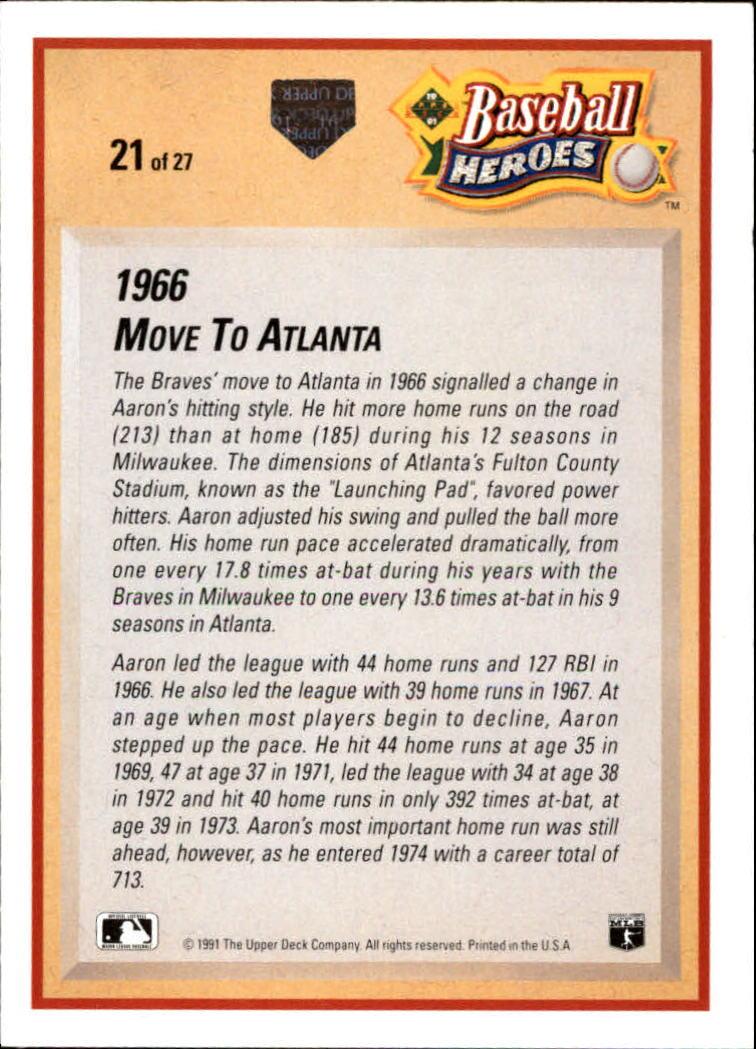 1991 Upper Deck Aaron Heroes #21 Hank Aaron back image