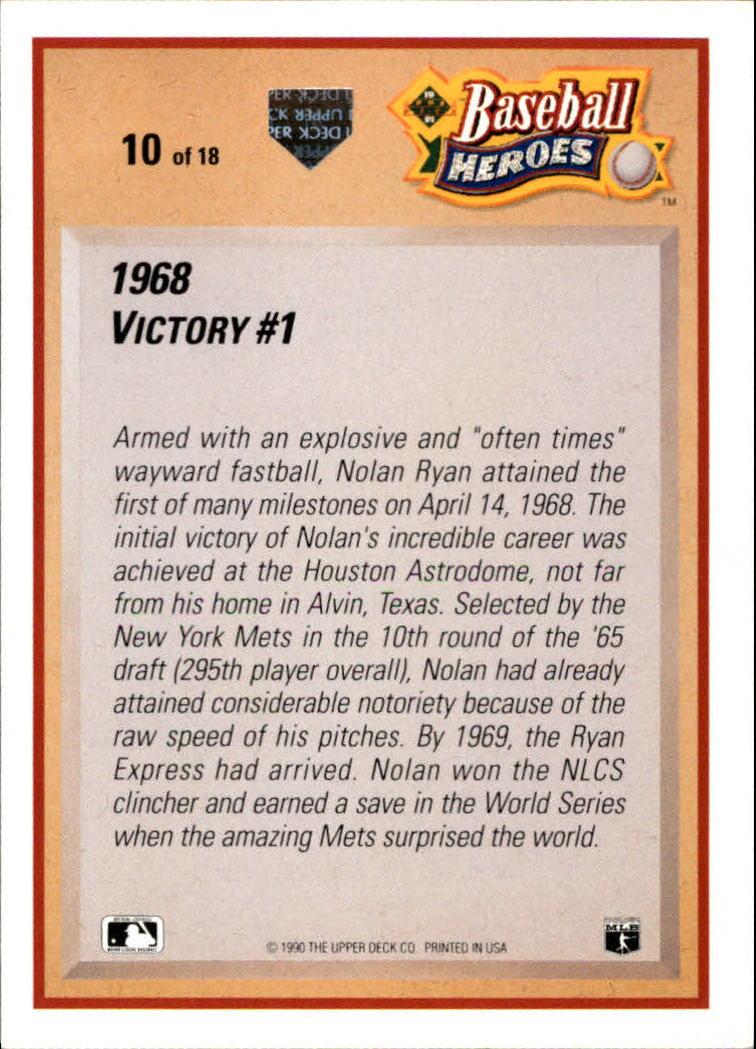 1991 Upper Deck Ryan Heroes #10 Nolan Ryan back image