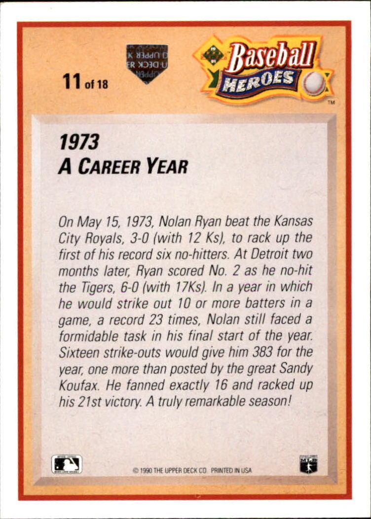 1991 Upper Deck Ryan Heroes #11 Nolan Ryan back image