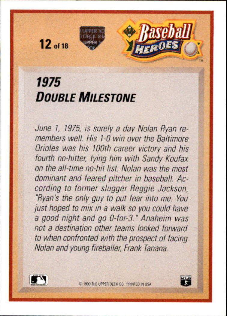 1991 Upper Deck Ryan Heroes #12 Nolan Ryan back image
