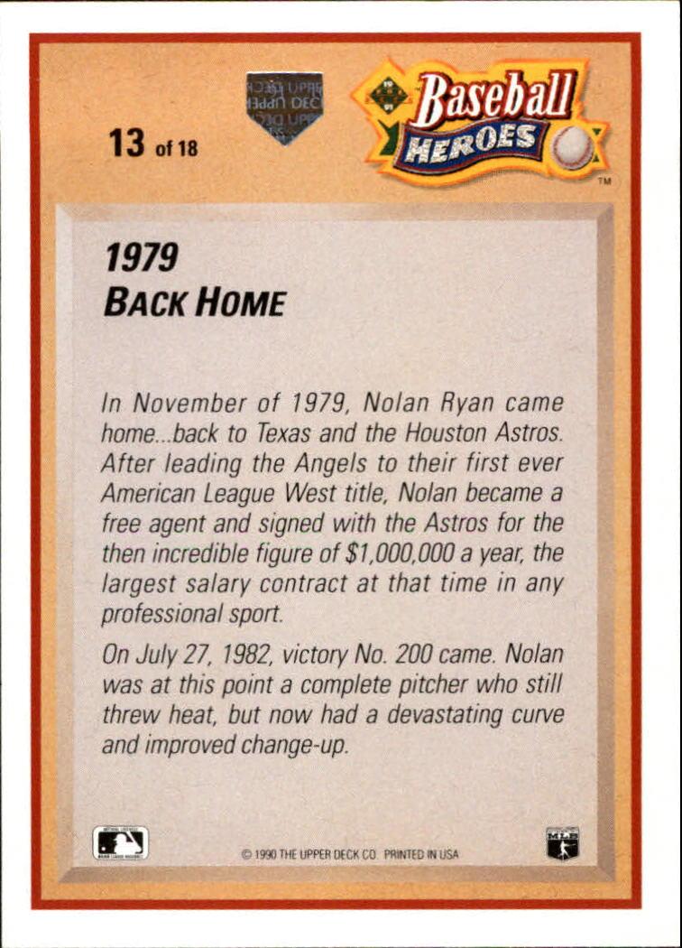 1991 Upper Deck Ryan Heroes #13 Nolan Ryan back image