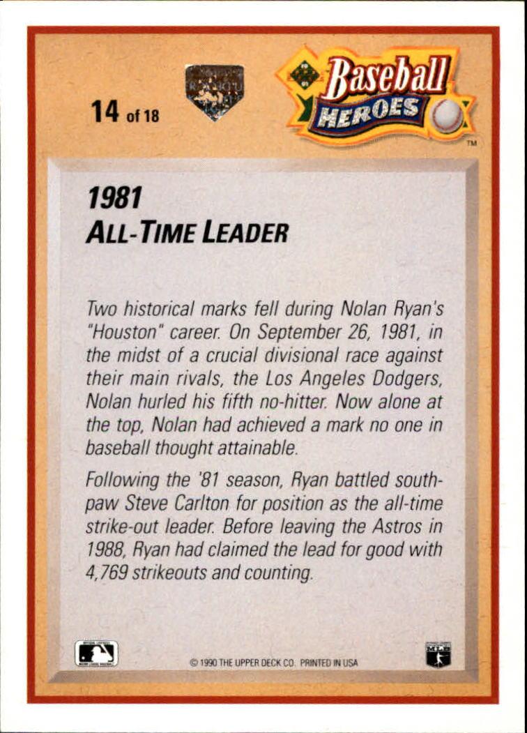 1991 Upper Deck Ryan Heroes #14 Nolan Ryan back image