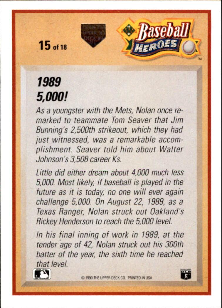 1991 Upper Deck Ryan Heroes #15 Nolan Ryan back image