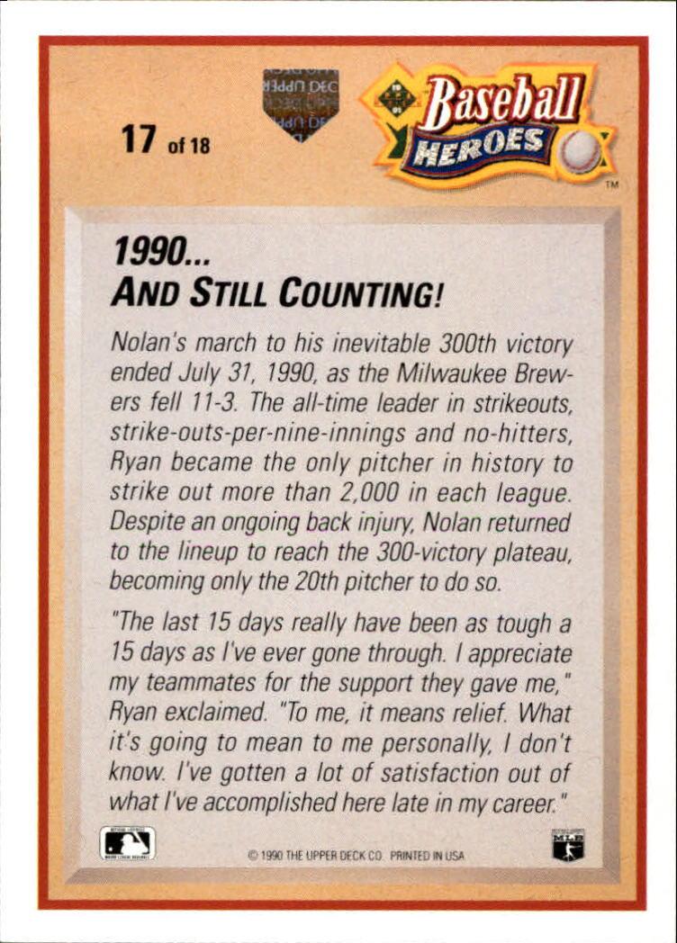 1991 Upper Deck Ryan Heroes #17 Nolan Ryan back image
