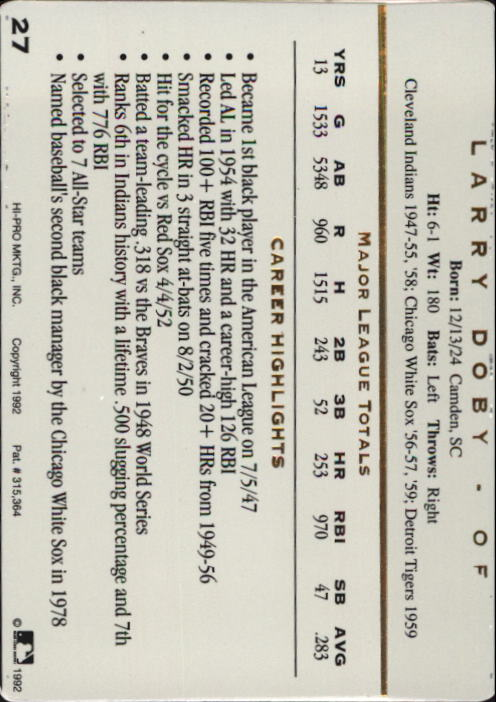 1992 Action Packed ASG #27 Larry Doby back image