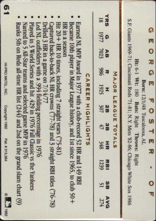 1992 Action Packed ASG #61 George Foster back image