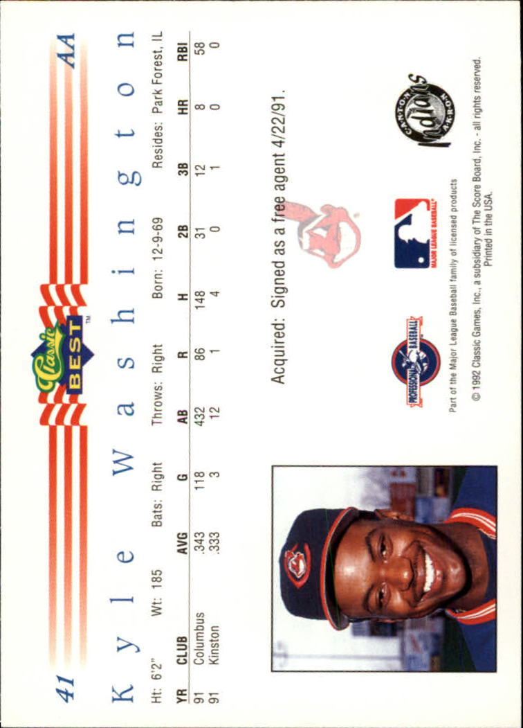 1992 Classic/Best #41 Kyle Washington back image