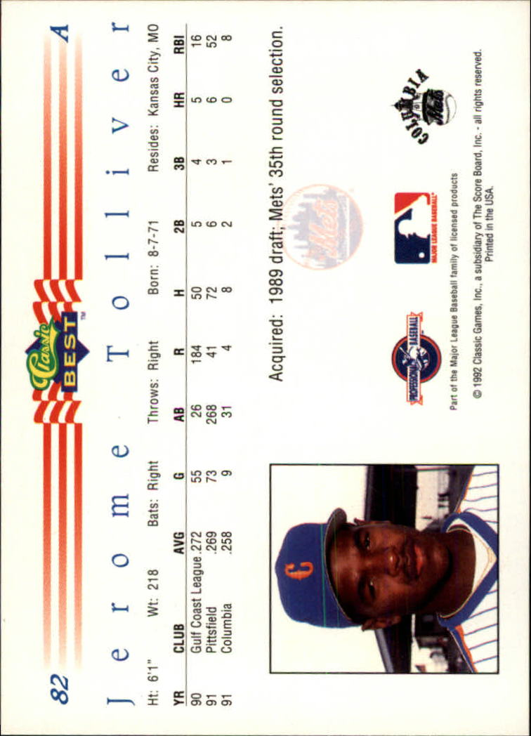 1992 Classic/Best #82 Jerome Tolliver back image