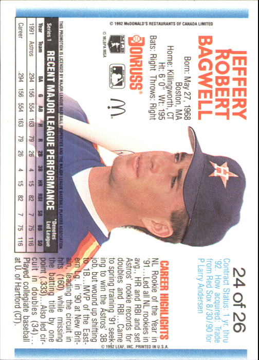 1992 Donruss McDonald's #24 Jeff Bagwell back image