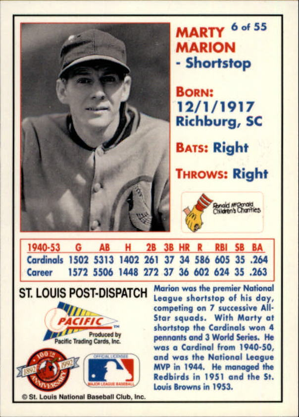1992 Cardinals McDonald's/Pacific #6 Marty Marion back image