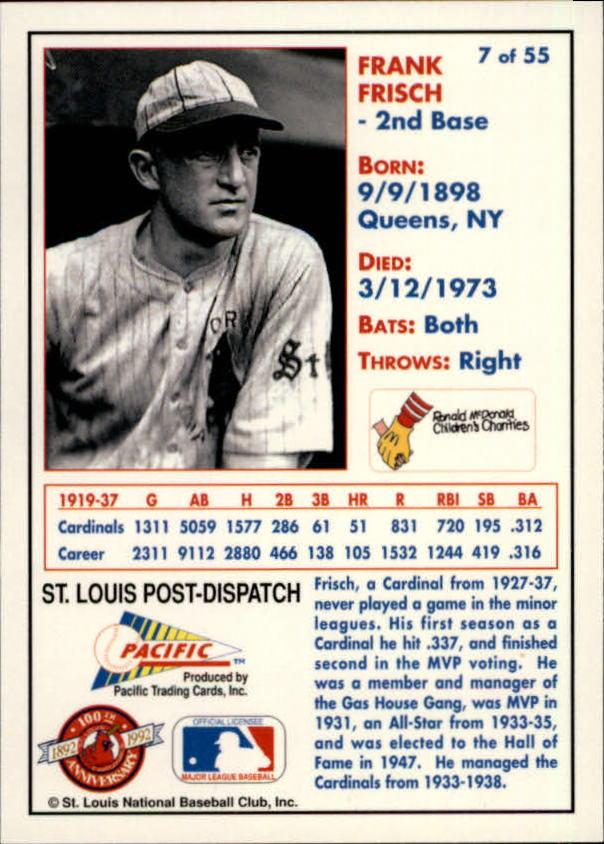 1992 Cardinals McDonald's/Pacific #7 Frank Frisch back image