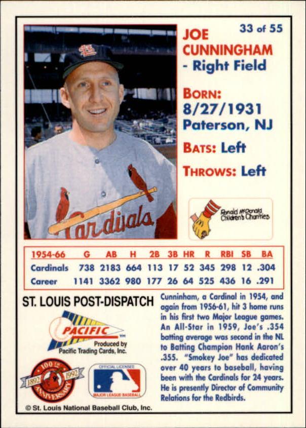 1992 Cardinals McDonald's/Pacific #33 Joe Cunningham back image