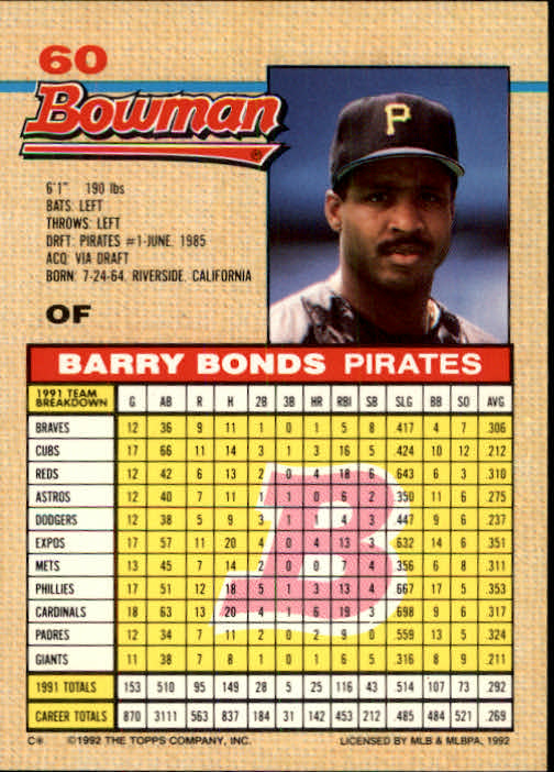 1992 Bowman #60 Barry Bonds back image