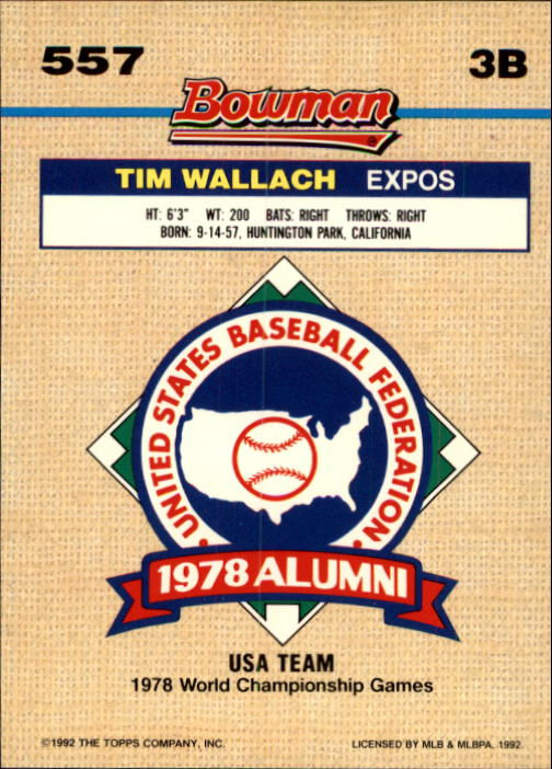 1992 Bowman #557 Tim Wallach FOIL back image