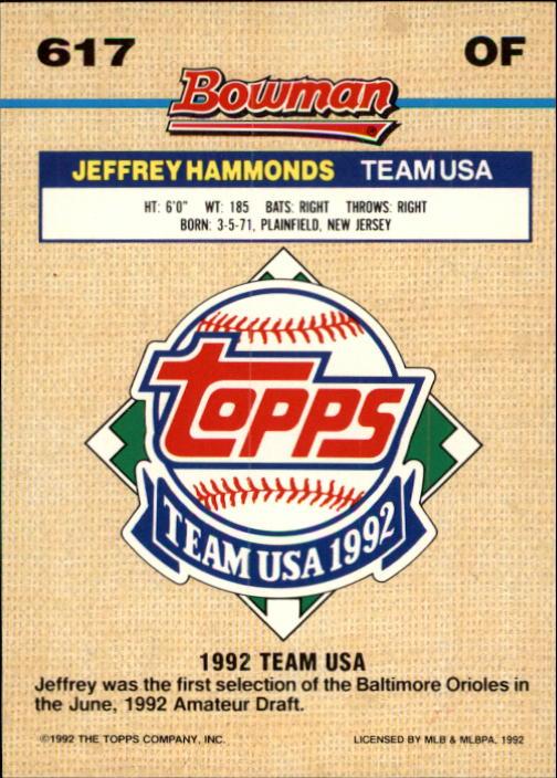 1992 Bowman #617 Jeffrey Hammonds FOIL back image