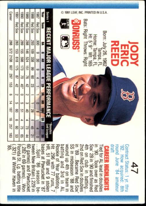 1992 Donruss #47 Jody Reed back image