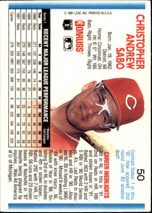 1992 Donruss #50 Chris Sabo back image
