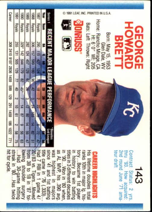 1992 Donruss #143 George Brett back image